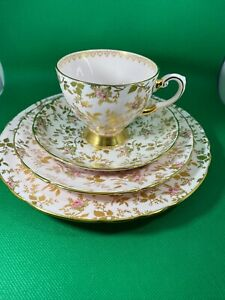 TUSCAN CHINA TEA CUP SAUCER PINK & GOLD CHINTZ 4 PIECES HAND PAINTED SUNSHINE