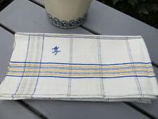 "Unused Antique  Handwoven Linen Towel Blue Yellow Str. Mono MK 28""by27""US$23.50"
