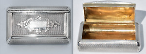 Superb Antique French 950 Sterling Silver & Vermeil Snuff Box - Chased - EUC