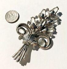 Art Deco Pot Metal Faceted Glass Rhinestone Flower Brooch Pin