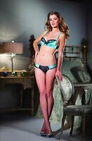 Sexy Lingerie Be Wicked! Turquoise Satin Bra Set w Underwire Cups & Lace Panty