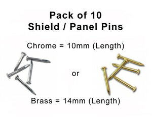 Pack of 10 Panel / Shield Pins - 10mm in Chrome (Silver) or 14mm in Brass (Gold)