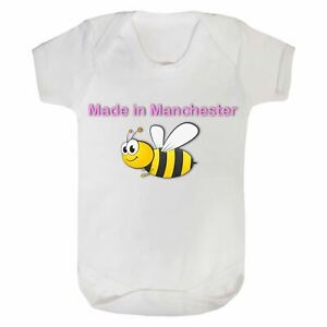 Short Sleeve 'Made In Manchester' Bee Baby Bodysuit 0-3 Months - White