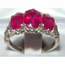 Victorian Design Solid English Sterling Silver Natural 4ct Ruby Ring