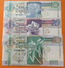 Seychelles 50, 25, 10 rupees 1998 UNC,  excellent condition