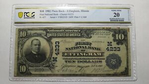 $10 1902 Effingham Illinois IL National Currency Bank Note Bill! Ch. #4233 VF20