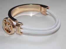 Women Charm Personalized letters M @ K Alloy Pendant Leather Bracelet white