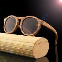 Retro Round Bamboo Wood Sunglasses Men Women's Wooden Polarized Glasses Box Case