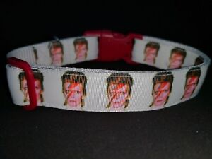 """NEW 'BOWIE' Dog Collar 15"""" - 22"""" Neck .  FREE Added fabric."""
