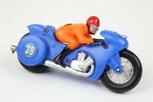 Vintage plastic Motorcycle toy racer driver wearing helmet and goggles old toy