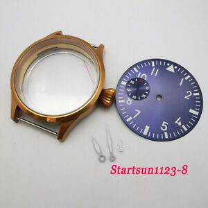 43mm Brass Plated Sapphire Watch Case Sterile Dial Hand fit 6497 st36 Movement