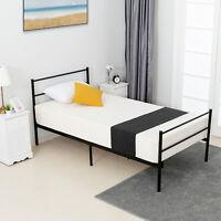 Twin XL Size Metal Bed Frame Steel Headboard Footboard Furniture, Black