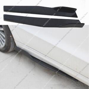 Universal Style Side Skirt Extension CS Bottom Splitters Winglet Shovel PP Black