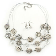 3 Strand White/Black, Transparent Shell & Bead Wire Necklace & Drop Earr