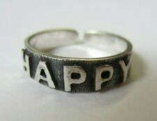 """""""Happy"""" Sign Solid 925 Oxidized Jewelry 2pcs Sterling Silver Adjustable Toe Ring"""