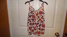 Women's Decree floral SPAGHETTI STRAP BUTTON UP blouse SIZE MEDIUM MULTI COLORS