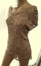 AA Wallis Crochet Beaded Lace Top blouse nude beige light brown Party Occasion L