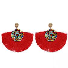 Women Jewelry Thread Tassel Fan Earrings Boho Seed Beads Drop Dangle Earrings