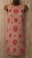 ASOS Heavy Floral Embellished Mini Shift Party Cocktail Sleeveless Dress UK 8 36