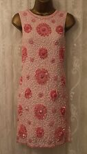 ASOS Bead & Sequin Floral Embellished Keyhole Back Mini Shift Party Dress  8 36