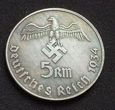 WW2 GERMAN COLLECTORS COIN 5 REICHSMARK 1934 ADOLF HITLER WWII