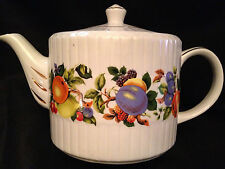 Ellgreave English Teapot - Ribbed, Fruit Pattern, Gold Trim & Accents