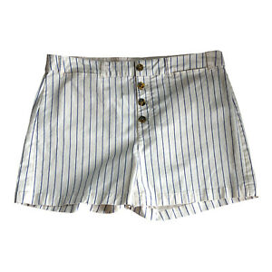 Old Navy Shorts Size 16 High Waist Beige Striped Button Front Chino Womens New