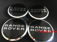 4 X RANGE ROVER BLACK CHROME 63MM WHEEL CENTRE CAPS SPORT EVOQUE FREELANDER
