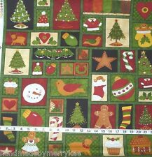Ginger Trees Christmas Motif Patchwork Panel Green/Multi Color Wilmington Prints
