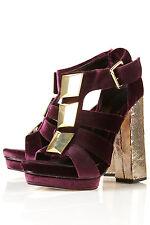 New TOPSHOP Premium PALOMA luxe velvet platform sandals UK 6 in Purple