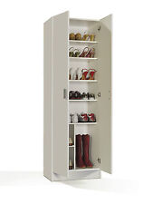 Tall Wide White Storage Shoe Utility Bookcase Cupboard Shelf Shelves Shelfing