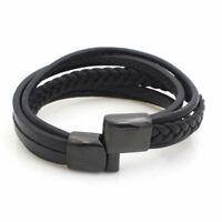 """Men's Stainless Steel 8"""" Black Braided Leather Magnetic Bracelet Unisex"""