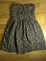 💚 BLACK FLORAL FLOWER STRAPLESS BEBE DRESS WOMENS SIZE S A3