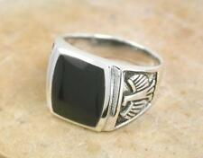 THICK MENS STERLING SILVER ONYX RING w EAGLE size 8  style# r1106