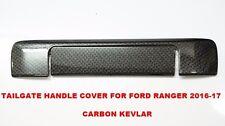 BLACK CARBON KEVLAR HANDLE COVER TRIM TAIL GATE FOR FORD RANGER 2016-17