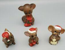 Vintage Josefs Set Of 4 Christmas Mice Figurines. Japan