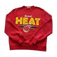 Miami Heat Mitchell and Ness NBA Red Basketball Tribal Logo Sweatshirt Men Small