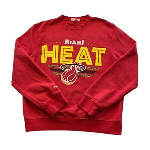 Miami Heat Mitchell and Ness NBA Red Basketball Tribal Logo Sweatshirt Men Small