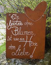 Edelrost Spruchtafel Ein Garten ohne Blumen... Schild Geschenk Gedicht Tafel