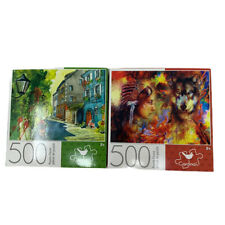 Lot Of 2 NEW 500 Pc Puzzle Small Summer + Indian Woman W/ Wolf Kids Craft Toy