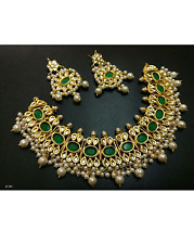 Traditional  Indian green  and kundan stone  Choker Bridal  Jewellery Set