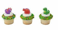 Dinosaur cupcake rings (24) party favor cake topper bright colors