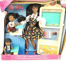 Vintage 1995 African American Teacher Barbie Doll Set #13915 Students Open Box