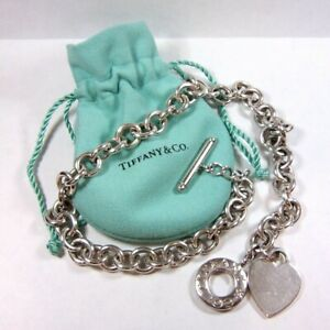 Tiffany & Co. Sterling Silver BLANK Heart Tag Toggle Choker Necklace with Pouch