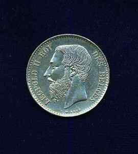 BELGIUM  1867  1 FRANC SILVER COIN  UNCIRCULATED, ALMOST PROOFLIKE