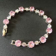GB Pink & White Sim Sapphires Silver / White Gold Filled Bracelet Plum UK BOXED