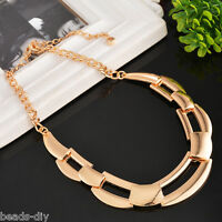Womens Fashion Charm Rose Gold Simple Chain Chunky Choker Necklace Jewelry