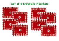 Set of 8 Beautiful Christmas Placemats Snowflake Lazercut Red Felt Table Decor
