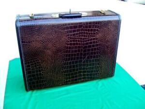 "VINTAGE 1950'S SAMSONITE FAUX ALLIGATOR SKIN SUITCASE 24"" STYLE 4135 WITH KEY"