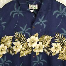 KY'S of Hawaii Hawaiian Aloha Shirt 3X Blue  Tropical Palms Hibiscus USA